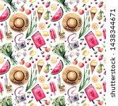 watercolor seamless pattern on...   Shutterstock . vector #1438344671