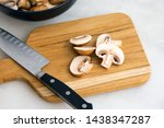 Slicing Cremini Mushrooms On A...