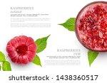 raspberry and raspberry jam in... | Shutterstock . vector #1438360517