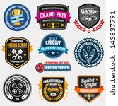 Set Of Car Racing Emblems And...