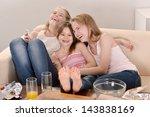 three cheerful young girls... | Shutterstock . vector #143838169