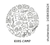 cute doodle outline kids camp ... | Shutterstock .eps vector #1438430624