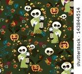 halloween seamless texture with ... | Shutterstock .eps vector #143844514