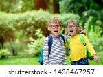 back to school. happy children...   Shutterstock . vector #1438467257