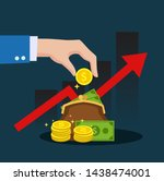 the hand of a businessman is... | Shutterstock .eps vector #1438474001