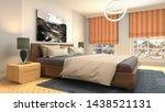 Stock photo bedroom interior bed d illustration 1438521131