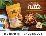 premium nuts ads on wooden... | Shutterstock .eps vector #1438531031