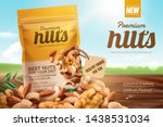 premium nuts ads on bokeh blue... | Shutterstock .eps vector #1438531034