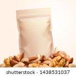 kraft paper snack bag on nuts... | Shutterstock .eps vector #1438531037