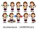 big set with brunette woman in... | Shutterstock .eps vector #1438596161