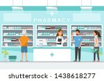 pharmacy with pharmacist and... | Shutterstock .eps vector #1438618277