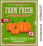 vintage farm fresh pumpkin... | Shutterstock .eps vector #143863357