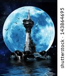Witches tower, Halloween image of a dark mysterious tower on a rock island with bats and a moon background. - stock photo