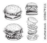 delicious burgers set. hand... | Shutterstock .eps vector #1438679111