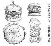 delicious burgers set. hand... | Shutterstock .eps vector #1438679114