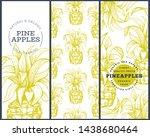 set of tree pineapple banner...   Shutterstock .eps vector #1438680464