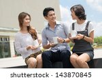 friend's team talking and... | Shutterstock . vector #143870845