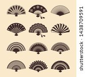 vintage elegant oriental fans... | Shutterstock .eps vector #1438709591