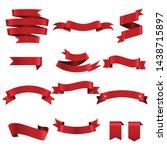 red ribbon set inisolated white ... | Shutterstock .eps vector #1438715897