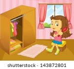 illustration of a girl brushing ... | Shutterstock .eps vector #143872801