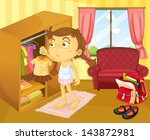 illustration of a girl changing ... | Shutterstock .eps vector #143872981