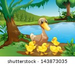 Illustration Of A Mother Duck...