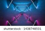 glitch effect neon lamps design.... | Shutterstock . vector #1438748531