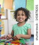 portrait of smiling little girl ... | Shutterstock . vector #143878201