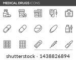 medical drugs vector line icons.... | Shutterstock .eps vector #1438826894