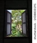 Open Window Of Wooden Village...