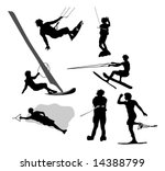 water sports silhouettes | Shutterstock . vector #14388799