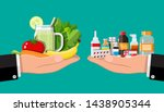 hands scales with vegetables... | Shutterstock .eps vector #1438905344
