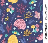 seamless pattern with seaweeds... | Shutterstock .eps vector #1438912394