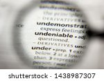 Small photo of The word or phrase Undeniable in a dictionary