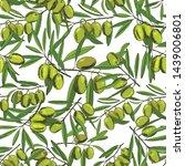 seamless pattern olives  sketch ... | Shutterstock .eps vector #1439006801