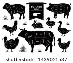 Stock photo butcher diagrams animal meat cuts cow pig rabbit lamb rooster domestic animals silhouettes 1439021537