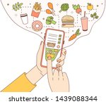 poster template with hands... | Shutterstock .eps vector #1439088344