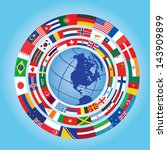 circles of flags around globe | Shutterstock .eps vector #143909899