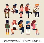abstract faceless people using...   Shutterstock .eps vector #1439115341