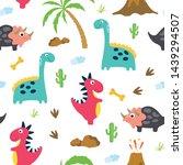 cute dinosaur seamless pattern. ... | Shutterstock .eps vector #1439294507