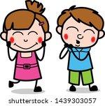 Stock vector blushing expressions cute girl cartoon character vector illustration 1439303057