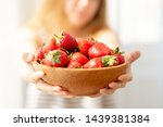 Wooden Plate With Strawberries...