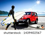 red summer car on beach and... | Shutterstock . vector #1439402567
