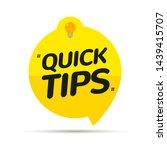 quick tips icon badge. top tips ... | Shutterstock .eps vector #1439415707