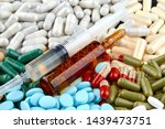syringe  brown ampoule and many ... | Shutterstock . vector #1439473751