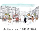 street cafe with fashion people ... | Shutterstock .eps vector #1439525894