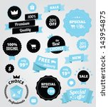 vector stickers and ribbons set ... | Shutterstock .eps vector #143954875
