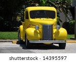 Retro Yellow Pickup Truck Front ...