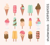 ice cream cone and bar. pastel... | Shutterstock .eps vector #1439569331