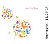 butterflies flowers design | Shutterstock .eps vector #143964931